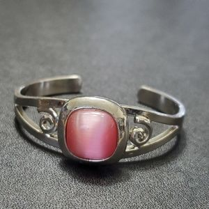 Girl's silver tone and pink cuff bracelet